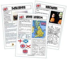 Je vous propose dans cet article des fiches pour travailler les éléments culturels des pays de langue anglaise. Sur chaque fiche quelques phrases en anglais, un texte explicatif, des illustrations et