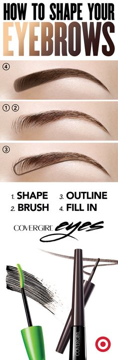Frame your eyes with gorgeously groomed brows. STEP 1: Use COVERGIRL Angled Tweezers to pluck away stray hairs and shape your eyebrows.  STEP 2: Brush eyebrow hair upwards with an eyebrow brush or spoolie. STEP 3: Use BOMBSHELL POW-DER BROW + LINER by lashBlast™ pencil to define lines.  STEP 4: Add depth and fill in gaps with light upward strokes for a natural look – never drag back and forth.