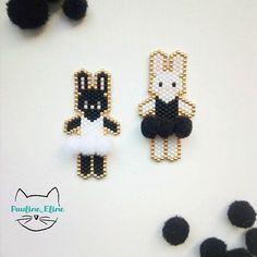Encore une fois des petites ballerines , et je vous laisse tranquille! Par contre, pour les pompons, je ne peux rien promettre... #jenfiledesperlesetjassume #miyukibeads #miyuki #perle #perleaddict #brickstitch #rabbit #lapin #bunny #ballerine #ballerina #danseuse #pompon #pompon #motifpauline_eline #blackandwhite