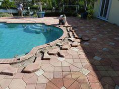how to fix sunken pavers on pool decks