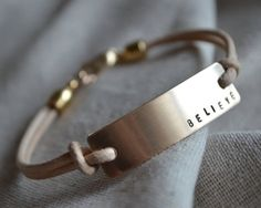 Large Gold Bracelet - Leather - Mantra - Hand Stamped - Customize