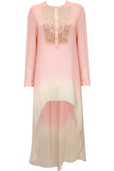 Salmon pink embroidered high-low tunic available only at Pernia's Pop-Up Shop.