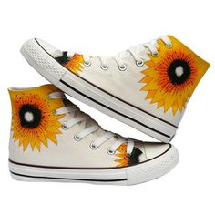 7b25f3e54a5 Hand Painted Sunflower Hi Sneakers - White Couple Hands