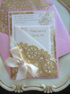 Pink and Gold Invitation SHIMMER PINK METALLIC by AlexandriaLindo