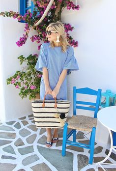 bijuleni, Zara sundress with ruffled sleeve and Hat Attack straw beach bag
