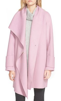 Pretty in this pink Vince coat! The dramatic, draping waterfall front is so modern and the fit is super  flattering. Love the hidden-snap closure and soft fabric. Such a timeless piece and a great wardrobe update for fall.