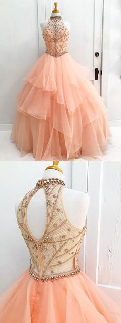 halter pearl pink prom party dresses with beaded appliques, fashion formal gowns for sweet 16.