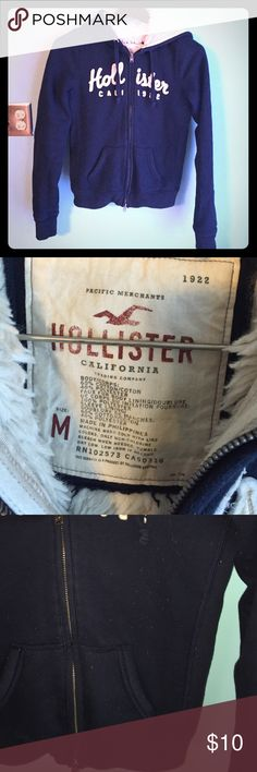 Hollister zip up hoodie heavyweight for lined M Hollister hoodie. Navy blue color, fur lined, heavy weight, zip up, front pockets. Good used condition. Some pilling, no rips or stains Sz M Hollister Tops Sweatshirts & Hoodies