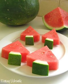 Watermelon Christmas trees for Christmas in July