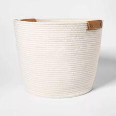 Decorative Coiled Rope Floor Basket White - Threshold™ : Target Source by clarenbach White Storage Baskets, Decorative Storage Bins, Fabric Storage Bins, Decorative Boxes, Toy Storage, Target Organization, Organization Ideas, Kitchen Organization, Kitchen Storage