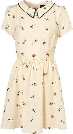 Pansy Print Collar Dress