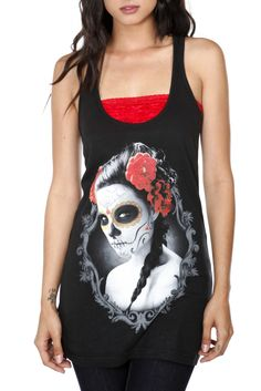 This Day of the Dead inspired tank features a photographic front screen of a painted lady with red roses in her hair.