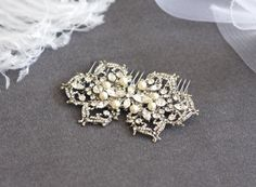 JULIETTE - Victorian Crystal Rhinestone And Pearl Bridal Hair Comb, Bridal Hair Accessories, Rhinestones Wedding Hair Comb. $54.00, via Etsy.