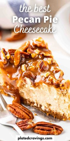 Pecan Pie Cheesecake has a crunchy pecan crust, a velvety brown sugar cheesecake layer and is topped with gooey caramel and toasted pecans. This Pecan Cheesecake is the perfect Holiday dessert and so easy to make without a water bath! Cookie Desserts, Holiday Desserts, Holiday Baking, Christmas Recipes, Thanksgiving Recipes, Holiday Recipes, Cookie Recipes, Pecan Pie Cheesecake, Easy No Bake Cheesecake