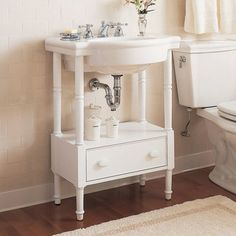 Console sinks use two legs unlike pedestal sinks, which make additional storage space possible.