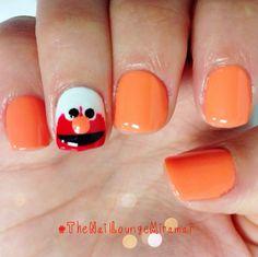 Elmo gel nail art