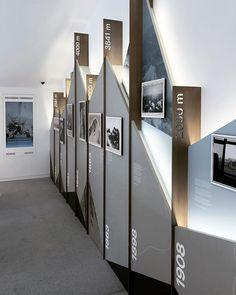 lumen museum of mountain photography sits on top of the dolomites - exhibition stand - Museum Exhibition Design, Exhibition Display, Exhibition Space, Design Museum, Exhibition Stands, Art Museum, Hall Design, Signage Design, Banner Design