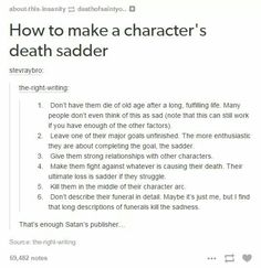 The Writer's Circle - How to make a character's death sadder.