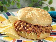 Slow Cooker Teriyaki Barbecued Chicken Sandwiches