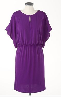 Purple Flutter Sleeve Dress by Coldwater Creek