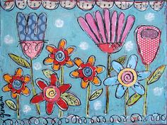 painting by Gina McKinnis...awesomesauce! Painted Sticks, Mixed Media Painting, Mixed Media Art, Flower Doodles, Art Flowers, Flower Art, Whimsical Art, Art Journal Inspiration, Art School