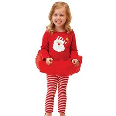 >> Click to Buy << red fall winter xma santa 2pcs infant toddler Baby clothing Girls Kids Christmas Tops +Striped Long Pant Outfit Clothes Set 2017 #Affiliate