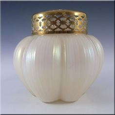 Kralik Art Nouveau 1900's Iridescent Mother-of-Pearl Glass Vase #7 - £30.00