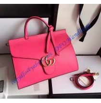 Gucci Small GG Marmont Leather Top Handle GU421890-rose-red