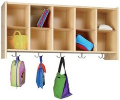 Toddler Classroom Storage with Coat Hooks Daycare Cubbies, Preschool Cubbies, Classroom Cubbies, Daycare Organization, Classroom Walls, Classroom Ideas, Preschool Age, Organizing Ideas, Preschool Furniture