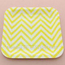 """Одноразовый бумага столовый сервиз желтый квадрат 7 """" шеврон бумага плиты для свадьба стол украшение и ну вечеринку(China (Mainland))"""