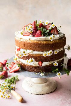 Strawberry Chamomile Naked Cake Basically, this cake is spring in cake form, and it is good! Round Cake Pans, Round Cakes, Nake Cake, Dessert Crepes, Cool Birthday Cakes, Happy Birthday, Birthday Ideas, Women Birthday, 70th Birthday