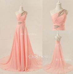 Custom Made Chiffon One Shoulder Long Prom Dresses by MsClothes Prom Dress 2014, Pink Prom Dresses, Grad Dresses, Homecoming Dresses, Bridesmaid Dresses, Beaded Dresses, Prom 2014, Dresses Dresses, Beautiful Dresses