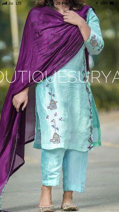Salwar Designs, Kurti Designs Party Wear, Blouse Designs, Embroidery Suits Punjabi, Embroidery Suits Design, Embroidery Designs, Indian Dresses, Indian Outfits, Patiala