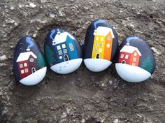 hand painted stones  a village in the snow by Sakamaliss on Etsy, €12.00