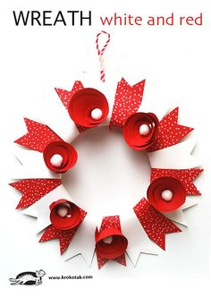 Paper craft for kids - make a paper wreath! Perfect for Valentine's Day, or Christmas! Use different colours for other celebrations.
