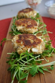 """{Four Seasons} Crab Cakes with garlic mayo dipping sauce and cole slaw.     Great appetizer! We serve it on Christmas Eve for our """"Feast of the Seven Fishes"""" tradition."""