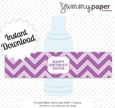 Editable Pink and Purple Party Bottle Labels - Instant Download - Editable Water Bottle Wrappers .. ppc01 Signature Collection