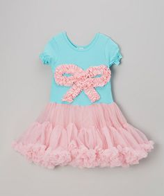 Take a look at this Pink & Blue Bow Pettidress - Infant, Toddler & Girls by Tutus by Tutu AND Lulu on #zulily today!