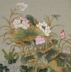 Japan Painting, Ink Painting, Fabric Painting, Watercolor Art, Chinese Painting, Chinese Art, Lotus, Painted Clothes, Creative Pictures