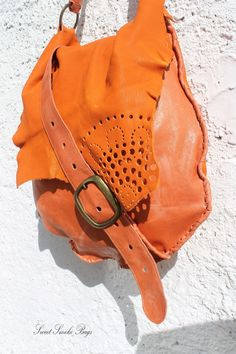 99a7e7cfe3 Oversized large orange Italian leather bag hobo by SweetSmokebags Leather  Bags Handmade, Handmade Bags,
