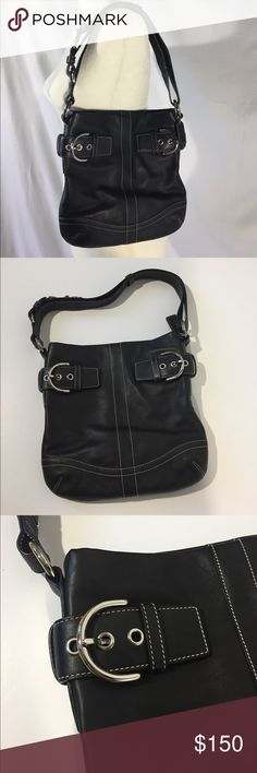 "Coach Soho Buckle Convertible Slim Shoulder Bag Like new condition. Black. Super soft hand polished, glove tanned leather. Large soho buckle trim. Silver hardware. Approximately 11"" L x 10.5"" D x 1"" W. One inch thick leather strap is adjustable—8"" drop for shoulder use, fully extended drop about 20"". Interior has 1 zipper compartment, two slip pockets, and key ring. Black fabric lining. Top zipper closure with leather pull. Hang tag. Creed No. H05Q-1452. Dust bag included. Not from a…"