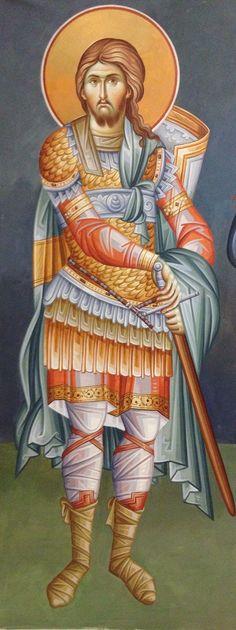Άγιος Αρτέμιος / Saint Artemius St Athanasius, Byzantine Icons, Grisaille, Religious Icons, Orthodox Icons, Sacred Art, Animal Kingdom, Style Icons, Saints