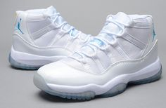 buy online e641a d364b Air Jordan 11 Retro All White Blue Cheap Jordan 11, Cheap Jordan Shoes,  Jordan