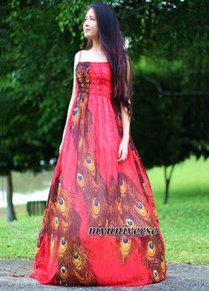 Rode Peacock Maxi jurk Sundress jurk Prom zomer Plus door myuniverse