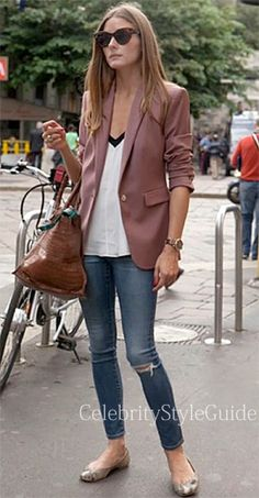 Seen on Celebrity Style Guide: Olivia Palermo wore the Reiss Laurel Oak Tailored Jacket during Paris Fashion Week