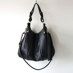 Winter SALE Black Leather Bag  Lotus Bag purse by opellecreative, $396.00