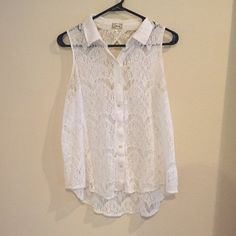 Lace tank top Sheer lace button down tank top, gently used. Kirra Tops Tank Tops