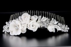 Tiara Comb with Chiffon Matte Satin Flowers and Crystal Beads from Cassandra Lynne