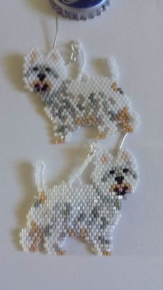 Hand Beaded West Highland White Terrier Earrings by FaeryWolfsFancies on Etsy