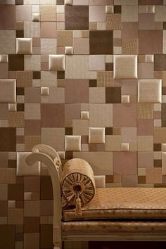 NappaTile™ Faux Leather Wall Tiles by Concertex. Installation via Peel and Stick. Faux Leather Walls, Leather Wall Panels, 3d Wall Panels, Creative Wall Decor, Creative Walls, Contemporary Hallway, Padded Wall, Wall Tiles Design, Home And Deco